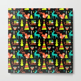 Mouse Ears Lime & Black Christmas Metal Print