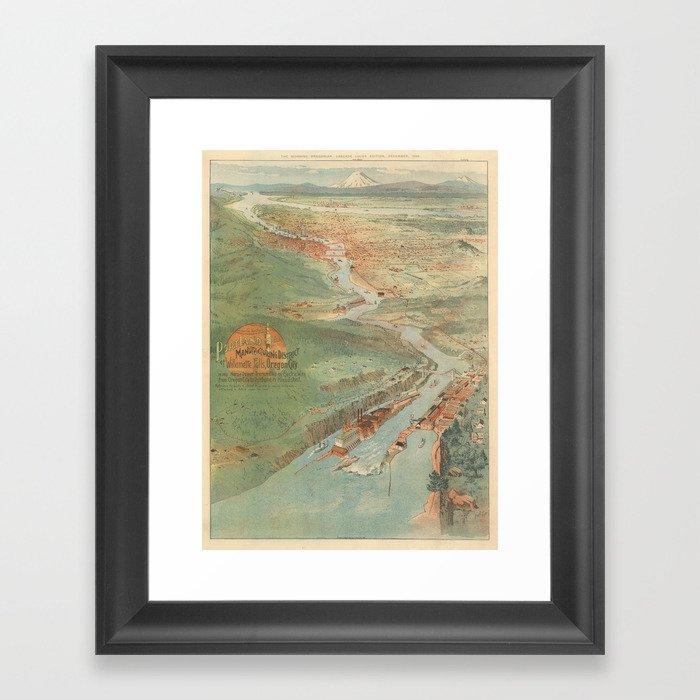 Vintage Pictorial Map of Portland OR (1896) Gerahmter Kunstdruck