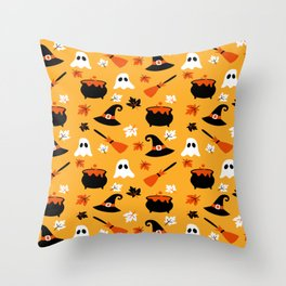 Happy halloween pots, ghosts and brooms Throw Pillow