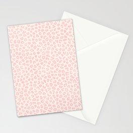 Modern ivory blush pink girly cheetah animal print pattern Stationery Cards