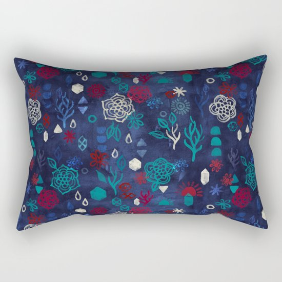 Elements - a watercolor pattern in red, cream & navy blue Rectangular Pillow