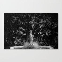 BLACK&WHITE ART - fountain , spain , spanish , water , spring Canvas Print