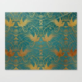 """""""Turquoise and Gold Paradise Birds"""" Canvas Print"""