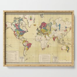 Vintage Geological Map of The World (1875) Serving Tray