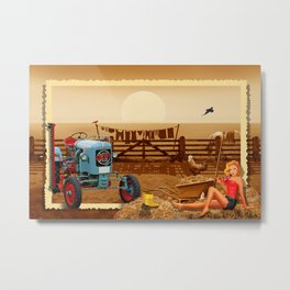 Pin Up Girl with tractor on the farm Metal Print
