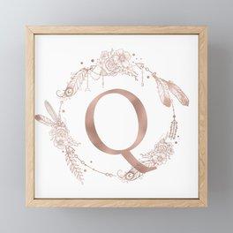 Letter Q Rose Gold Pink Initial Monogram Framed Mini Art Print