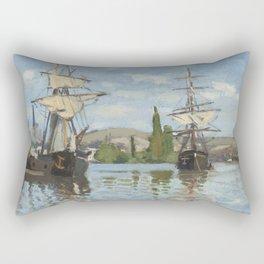 Claude Monet Ships Riding on the Seine at Rouen 18721873 Painting Rectangular Pillow