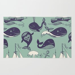 Pattern with marine motifs. Yachts, funny whales, carefree sunny voyage. Rug