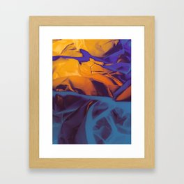 Orange, Purple and Blue Abstract. Mixed Media. Framed Art Print