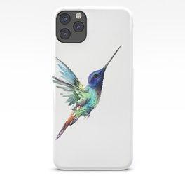 Flying Hummingbird flying bird, turquoise blue elegant bird minimalist design iPhone Case