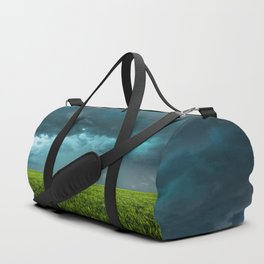 April Showers - Colorful Stormy Sky Over Lush Field in Kansas Duffle Bag