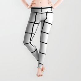 black and white grid pattern Leggings
