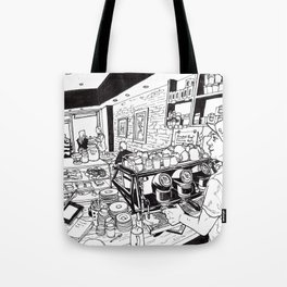 The coffeecup board cafe Tote Bag