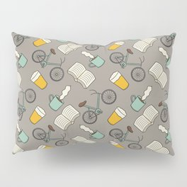 Bicycles, Books, Beer, and Coffee Pillow Sham