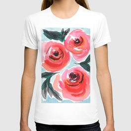 Shabby Chic Farmhouse Style Rose Floral Design T-shirt