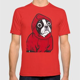 Red Hoodie Boston Terrier T-shirt