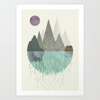 waterfall Art Prints featuring Waterfall by FLATOWL