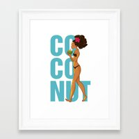 coconut wishes Framed Art Prints featuring Coconut by KAA illustration