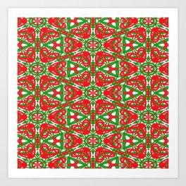 Red, Green and White Kaleidoscope 3375 Art Print