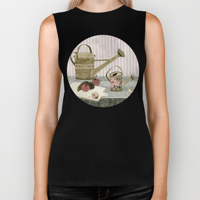 Watering Cans and Apples Biker Tank