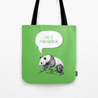 pun Tote Bags featuring Panda Pun by Zeke Tucker
