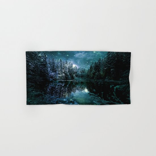 Winter Forest Teal Hand & Bath Towel