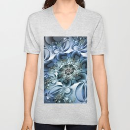 Dynamic Spiral, Abstract Fractal Art Unisex V-Neck