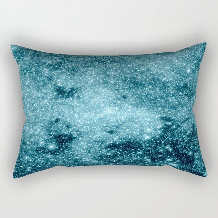 Teal Galaxy STars Rectangular Pillow