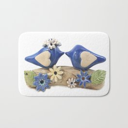 Blue birds Love birds Bath Mat