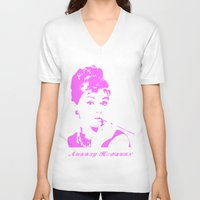 audrey hepburn V-neck T-shirts featuring Audrey Hepburn by Walter Eckland