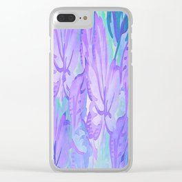 Painterly Lavender And Blue Foliage Clear iPhone Case