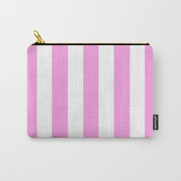 Lavender rose pink - solid color - white vertical lines pattern Carry-All Pouch
