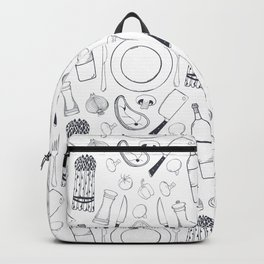 Black hand drawn ratatouille sketched pattern Backpack