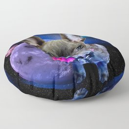 Dog French Bulldog and Galaxy Floor Pillow