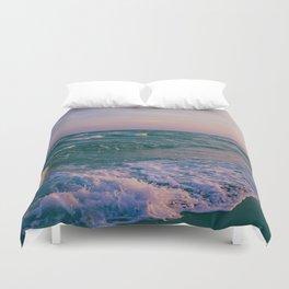Sunset Crashing Waves Duvet Cover