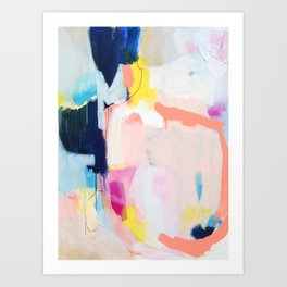 """""""passions 2"""" abstract art in navy, blush, teal, white, and yellow Art Print"""