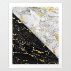 Black & White Gold Flecked Marble Art Print