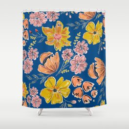 Hand Drawn Flowers on Faded Blue Shower Curtain