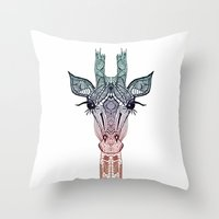 chris brown Throw Pillows featuring GiRAFFE by Monika Strigel