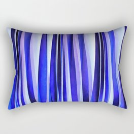 Peace and Harmony Blue Striped Abstract Pattern Rectangular Pillow
