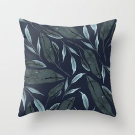 Leafy Vibes (Navy) Throw Pillow