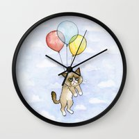 meme Wall Clocks featuring Cat With Balloons Grumpy Birthday Meme by Olechka