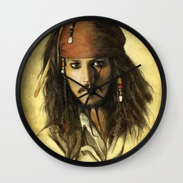 Portrait of a pirate Wall Clock