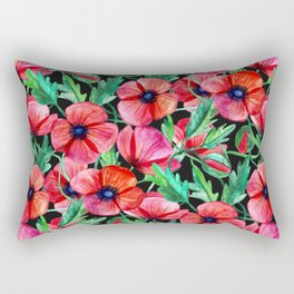 Plenty of Poppies - black Rectangular Pillow