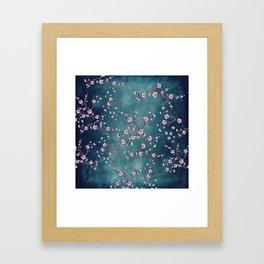 SAKURA LOVE  GRUNGE TEAL Framed Art Print
