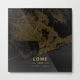 Lome, Togo - Gold Metal Print