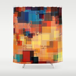 Multi color Square Geometrical Overlays Shower Curtain