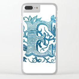 Letter E Antique Floral Letterpress Monogram Clear iPhone Case