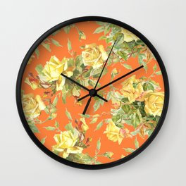 TEA ROSES & ORANGE  Wall Clock