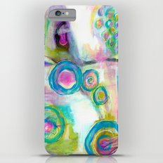 Driven To Distraction, Abstract Landscape Art Swirls Circles Turquoise Purple Green Pink White Slim Case iPhone 6 Plus